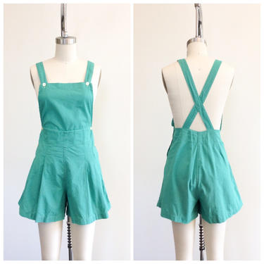 FINAL PAYMENT for MALENA /// 40s Green Cotton Playsuit Jumper / 1940s Vintage Overall Romper / Medium / Size 10 by CheshireVintageShop