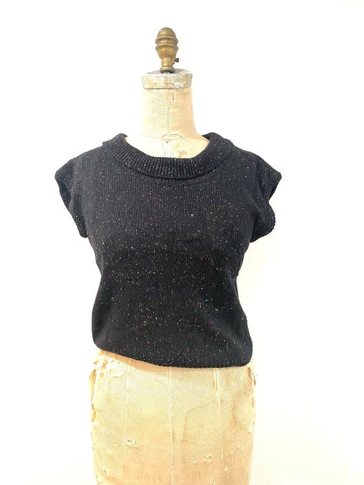 80s color speckled black sleeveless sweater by harlowandspring