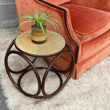 Vintage Rattan Ottoman Retro 1970s Bohemian + Tan Cane Top + Dark Brown Base + Pretzel + Side Table or Plant Stand + Boho Decor + Furniture by RetrospectVintage215