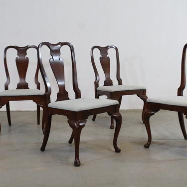 Set of 4 Reproduction Queen Anne Solid Mahogany Dining Side Chairs by AnnexMarketplace