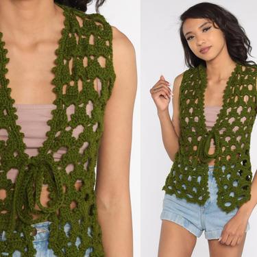 Crochet Vest Olive Green Knit Top 70s Hippie Boho Vest Open Weave Sheer 1970s Vintage Bohemian Sleeveless Sweater Small Medium by ShopExile