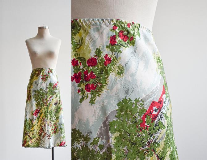 Vintage Farm Print Silk Slip Skirt by milkandice