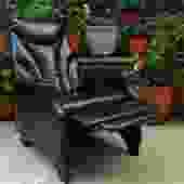 black vinyl recliner chair