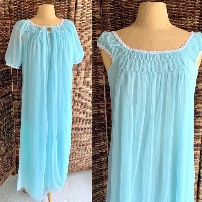 Billowy Sheer Chiffon Peignoir, Gown and Robe, Pearl Beads, Baby Blue, Vintage Sleepwear Lingerie Negligee by GabAboutVintage