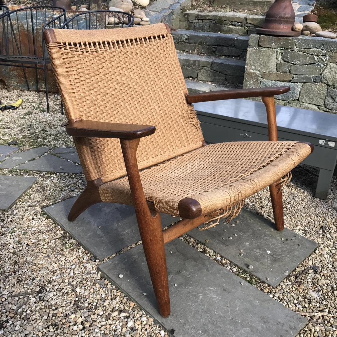 hans wegner ch25 carl hansen son rope rush lounge chair mid century 50s scandinavian danish. Black Bedroom Furniture Sets. Home Design Ideas