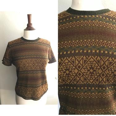Vintage brown and neutrals fall sweater top banded collar small to medium by honeycombvintage