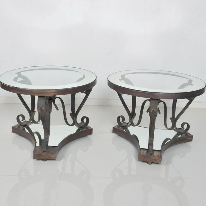 Midcentury Mexican Modernist ARTURO PANI Bronze Iron Side Tables by AMBIANIC