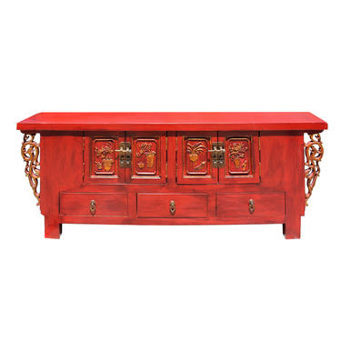 Chinese Distressed Red Dragon Motif TV Console Table Cabinet cs5728E by GoldenLotusAntiques