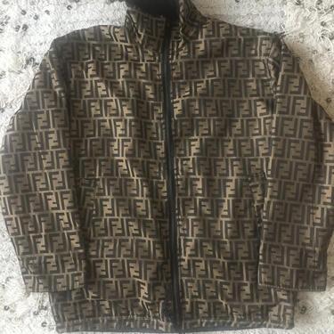 Vintage FENDI FF Zucca Print REVERSIBLE Monogram Womens Black Brown Blazer Jacket Dress Coat Trench Rain  S M - Wow!! by MoonStoneVintageLA