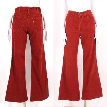 70s LEVIS rust corduroy high waisted bell bottoms jeans 30 / vintage 1970s red brown flares pants 6 by ritualvintage