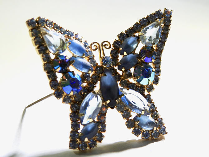 Weiss Open Set Rhinestone Butterfly 60's Brooch by LegendaryBeast