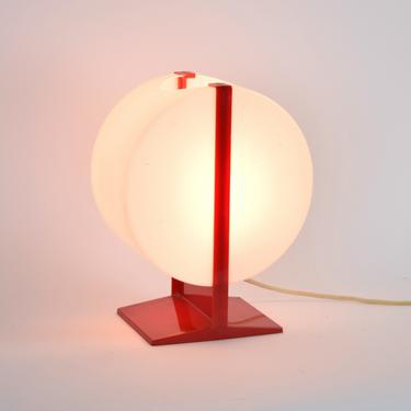 Vintage Atomic Space Age Mid-Century Modern Red and White Plastic Table Desk Lamp by PrairielandArt