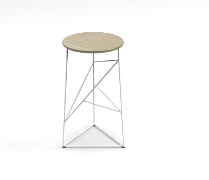 Stool,  Modern Steel Bar Stool in a White Finish with Solid Ash Seat by JumpFurniture
