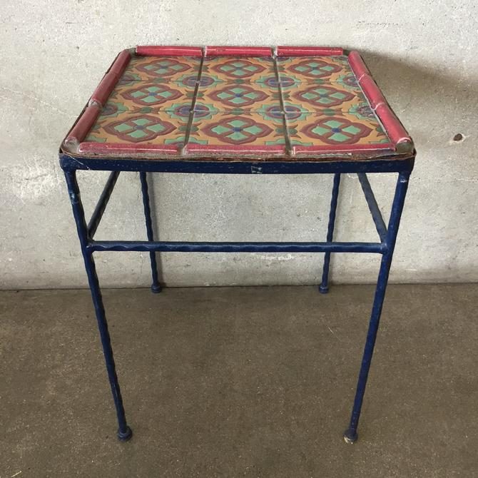 Vintage Catalina Tile Wrought Iron Table