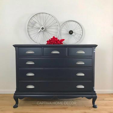 Navy Blue Bureau, Handpainted 6 Drawer Dresser, Refinished, Farmhouse Cup Pulls, Pretty Details, Sideboard storage, Coastal Blue, Silver by CaptivaHomeDecor