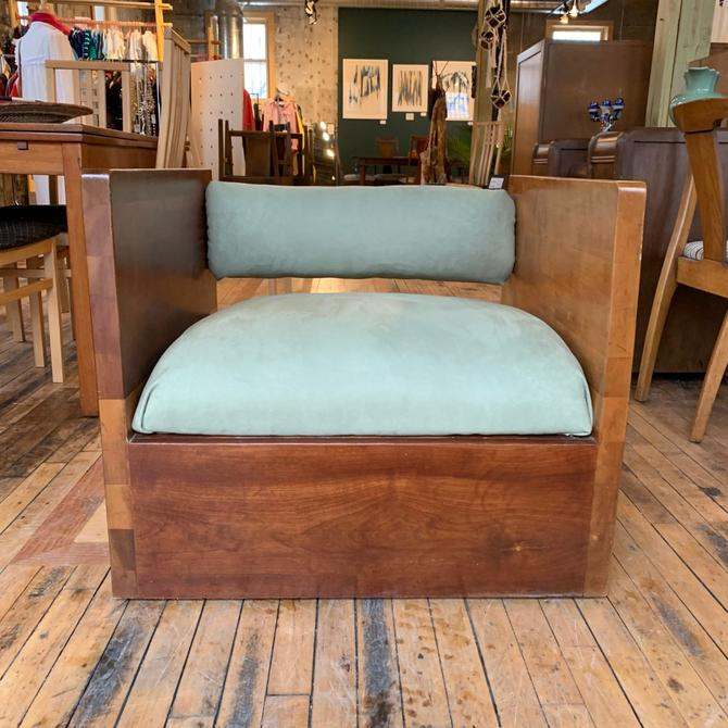 Solid Wood Club Chair w/ New Upholstery