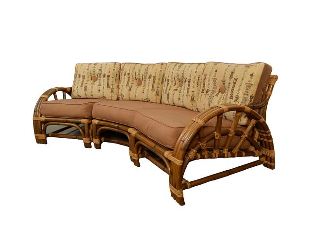 Bamboo and Rattan Modular Sofa made by Calif Asia Pretzel Arms Mid Century Modern by HearthsideHome