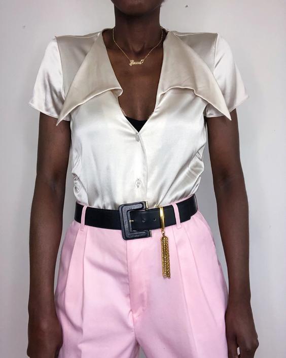 Vintage 90s/Y2K Stone Silk Satin Pointed Collar Blouse