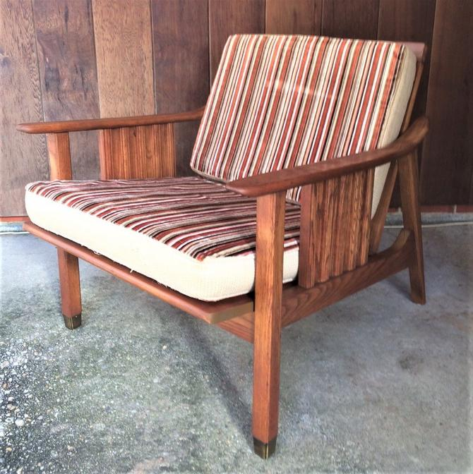 Stanley Mid-Century Danish Modern Wood with Brass Foot Lounge Chair