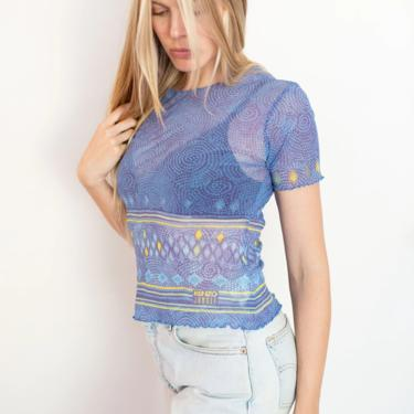 Vintage KENZO Jungle Rare Blue Dot Print Mesh Baby Top Tattoo Shirt Babydoll Crop Tee XS S 90s Y2K Blue Yellow Striped Swirl by backroomclothing