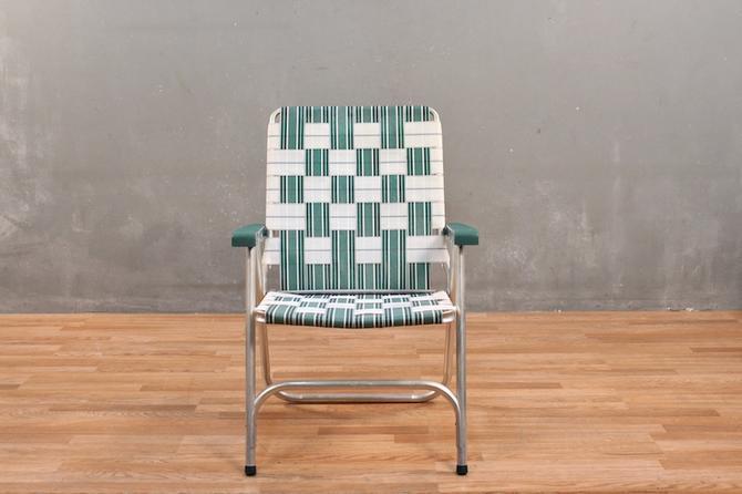 White Woven Folding Lawn Chair
