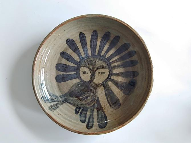 The Enchanted Owl Inuit Ceramic Pottery Low Bowl Mid Century Modern by ModandOzzie