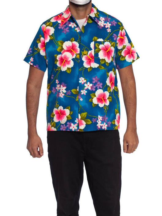 1970S Tropical Multicolored Cotton Barkcloth Men's Hawaiian Shirt by SHOPMORPHEW