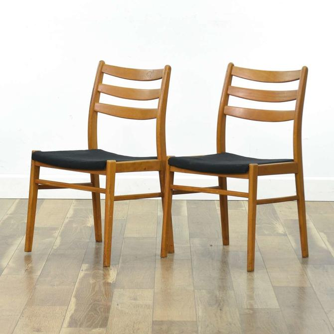 Danish Modern Ladder Back Maple Dining Chairs