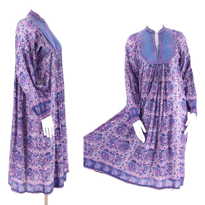 70s AMBER purple tissue cotton India print peasant dress M / vintage 1970s purple blue hippy festival caftan medium by ritualvintage