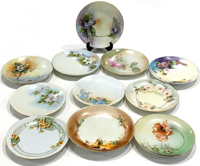 11 Vintage Hand Painted Plates All have Marks Backstamps including Hutschenreuther Rosenthal Gotham by DressingVintage