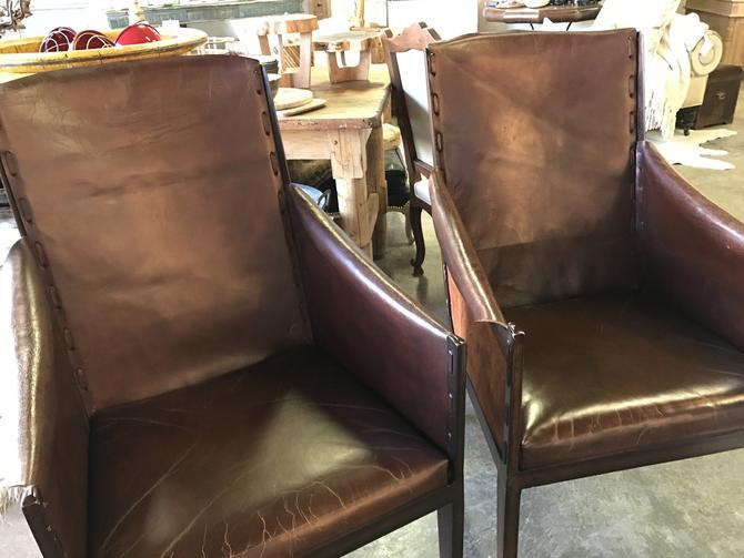 SOLD - Pair of Leather and metal Hickory side chairs