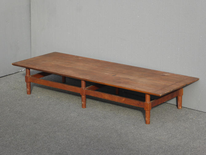 Vintage Danish Modern Style Low Profile Long Solid Wood Coffee Table by VintageLAfurniture