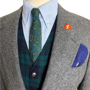 Vintage NORDSTROM 100% Wool TWEED Blazer ~ 38 S ~ Herringbone jacket / sport coat ~ Preppy / Ivy League / Trad ~ by SparrowsAndWolves