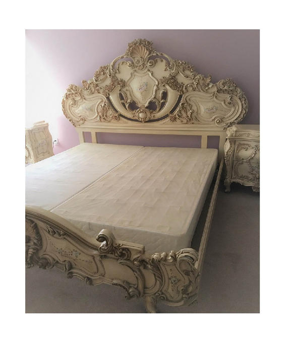Large RARE Romantic Antique Cream French Rococo Ornate Fancy King Queen size Bed with Headboard Footboard & Side rails (PureVintageNYC) by PureVintageNYC