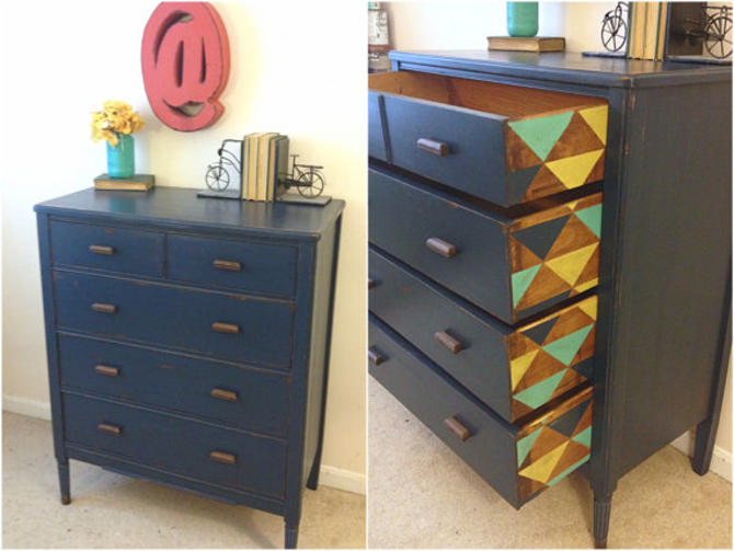 Rustic Modern Dresser Navy Blue Painted Geometric Furniture Vintage