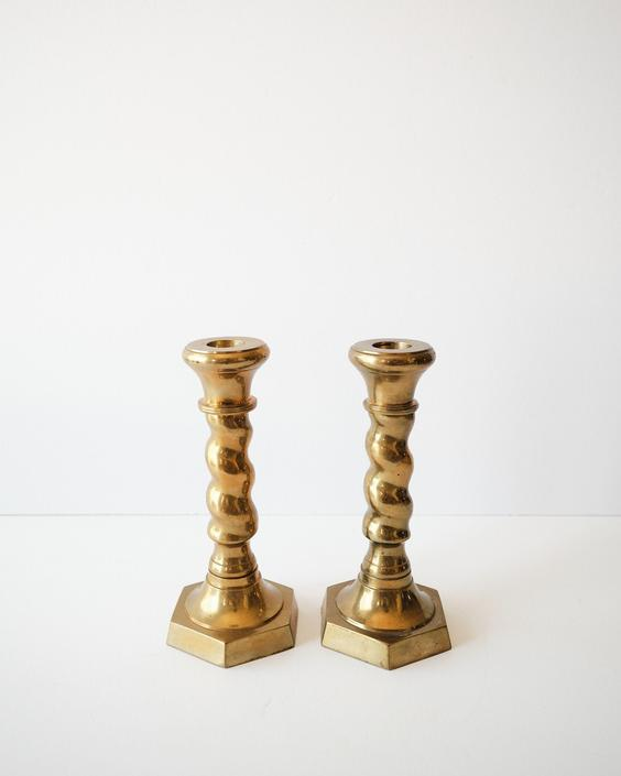 Set of Two Vintage Spiral Brass Taper Candlestick Holders by ShopLantanaLane
