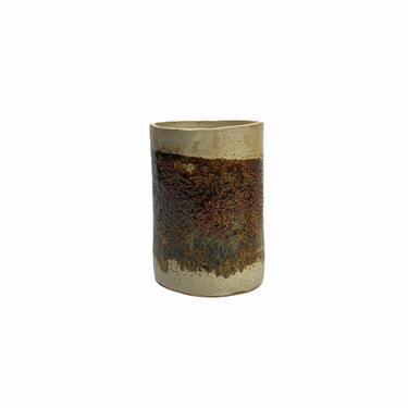 Vintage Brown Hand Thrown Wabi Sabi Studio Pottery Stoneware Vase, larger size, Signed by Northforkvintageshop
