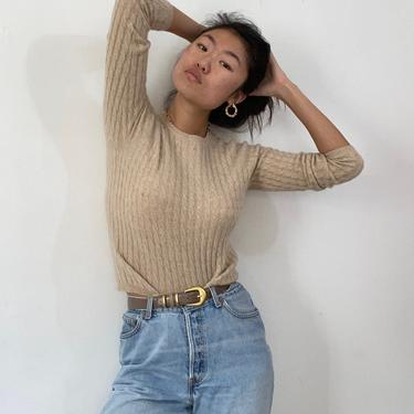 90s cashmere sweater / vintage oatmeal cashmere mini cable ribbed knit cropped raglan crewneck sweater | S by RecapVintageStudio