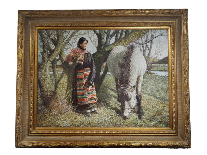 Oil Painting A Woman and her Horse by Marykaysfurniture
