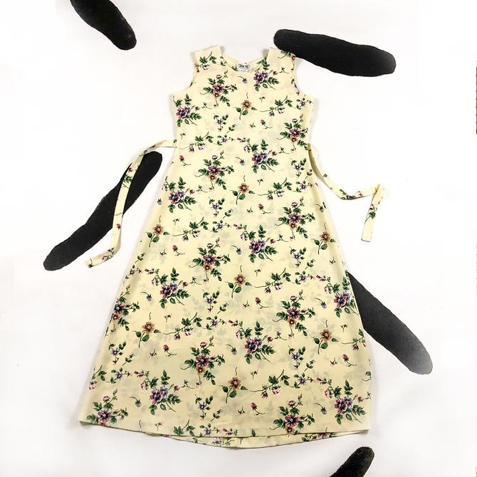 90s Yellow Floral Maxi Dress / Grunge / Rolling Over / Medium / Cream / Sassy Magazine / 90210 / Daisies / Roses / Back Tie / Waist Cinch / by shoptrashdotnet