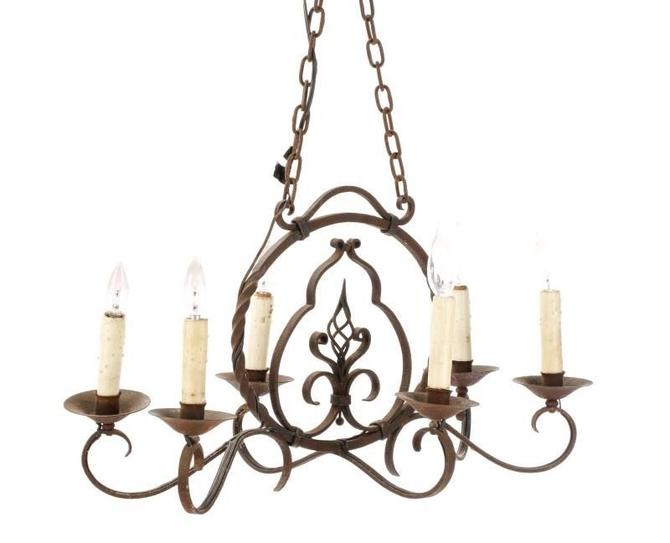 Antique Italian Wrought Iron 6-Lt Chandelier