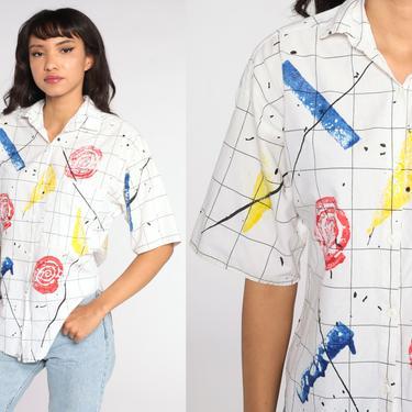 Geometric Button Up Shirt 80s White Top Blouse Paint Splatter Painter Shirt Short Sleeve Vintage Cotton 1980s Medium by ShopExile