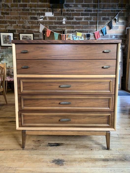 Refinished Two Tone Mid-Century Tallboy Dresser