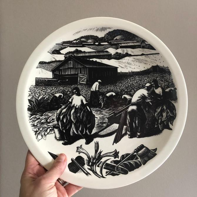 "Vintage Clare Leighton engraving plate by Wedgwood - ""Tobacco Growing"" from New England Industries series, 1952 made in England by ShopTheHyphenate"