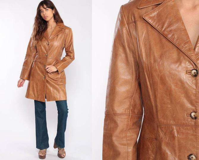 e262fc070 Leather Trench Coat 70s Trenchcoat Brown Boho Hippie Jacket 1970s Hipster  Womens Spy Jacket Bohemian Seventies Fitted Medium by ShopExile