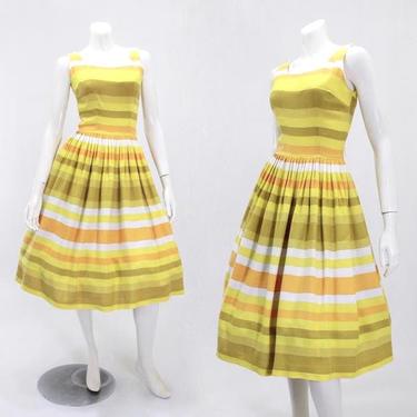 1950s Rainbow Dress - Citrus Stripe Dress - 50s Yellow Dress - 50s Green Dress - 50s Orange Dress - Fit and Flare Dress | Size Small by VeraciousVintageCo