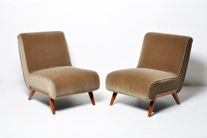 Pair of Art Deco Vintage Armless Chairs