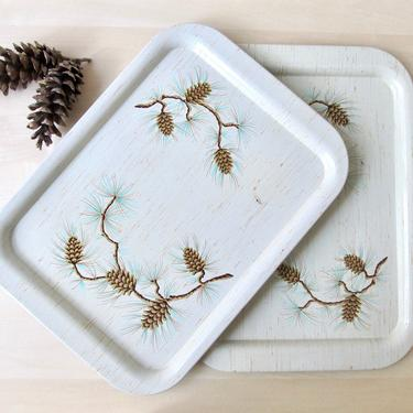 set 4 vintage pinecone tin TV trays - beige gold brown cabin decor for DIY magnetic board by ionesAttic