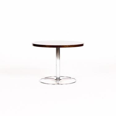 Danish Modern / Mid Century Round Rosewood Side table — Chrome Pedestal Base — Figural Grain by atomicthreshold