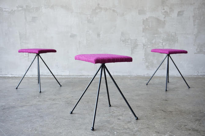 Upholstered Iron Stools. by FandFVintage